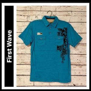First Wave Short Sleeve Graphic Polo